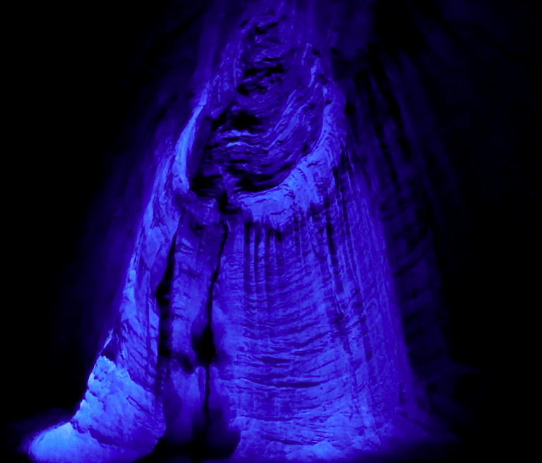 ruby falls waterfall with blue lights