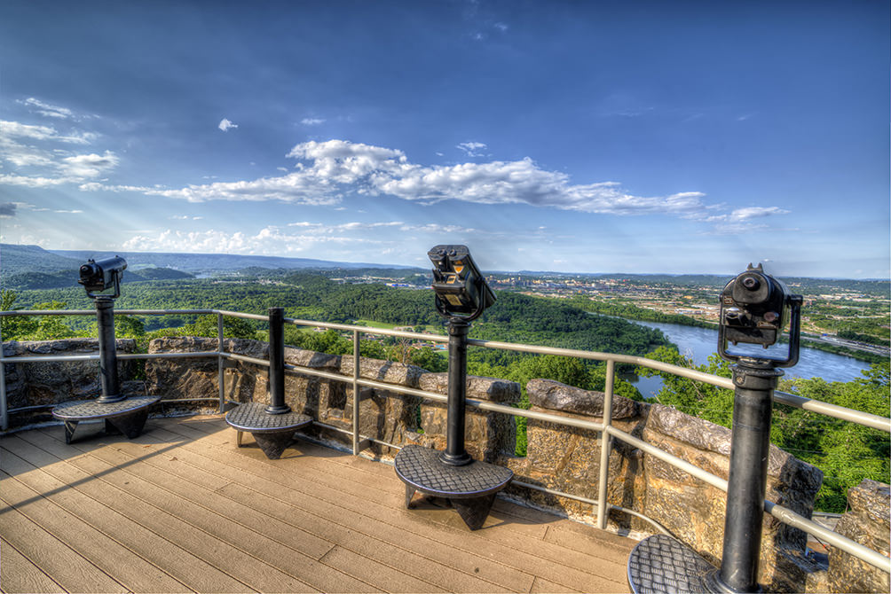 observation deck and views at Ruby Falls