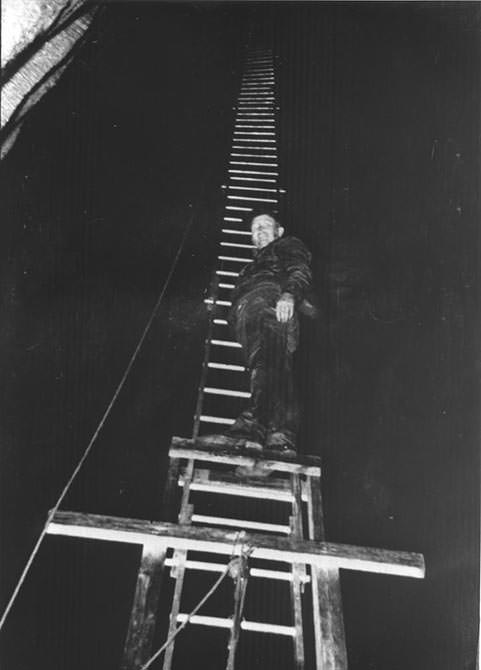 worker on ladder inside Ruby Falls