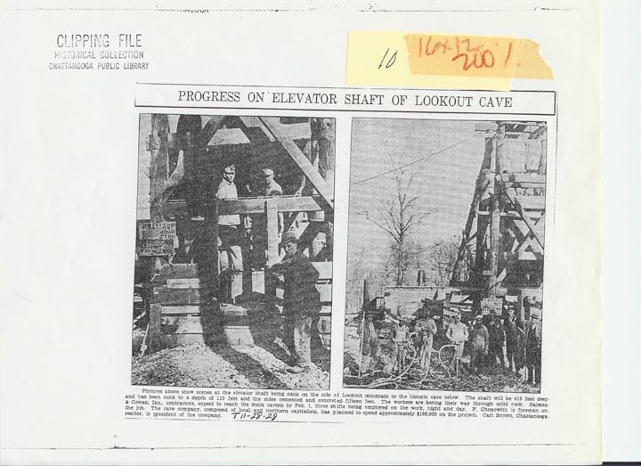 newspaper article on Ruby Falls elevator shaft construction